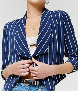 Open-Front Pinstriped Blazer Navy Blue & White